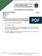 Johor 2012 TRIAL English Paper 1