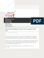 Fully Solved Intelligence Bureau ACIO Question Paper 2011 IBPS Question Papers for PO, Clerk and Specialist Officers