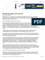 Mitt Romney Outlines Governing Plan - POLITICO.com Print View
