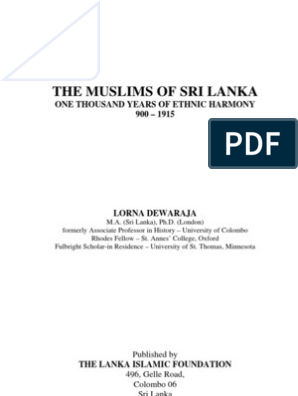 The Muslims of Sri Lanka - One Thousand Years of Ethnic Harmony  By