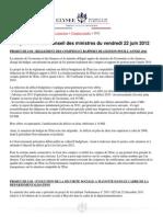 Compte-rendu du conseil des ministres du 22 juin 2012