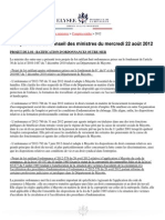 Compte-rendu du conseil des ministres du 22 août 2012