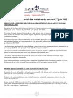 Compte-rendu du conseil des ministres du 27 juin 2012