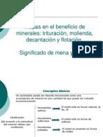 ETAPAS EN EL BENEFICIO DE LOS MINERALES