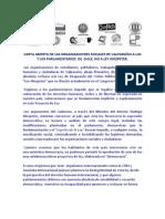 CARTA ABIERTA  ORGANIZACIONES  VALPARAÍSO A PARLAMENTARIOS NO LEY HINZPETER