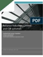 RELIANCE INDUSTRIES LTD CSR ACTIVITIES.