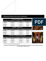 Wedding Facility Rate Schedule