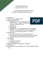 CERT Meeting Agenda 2012-08-30