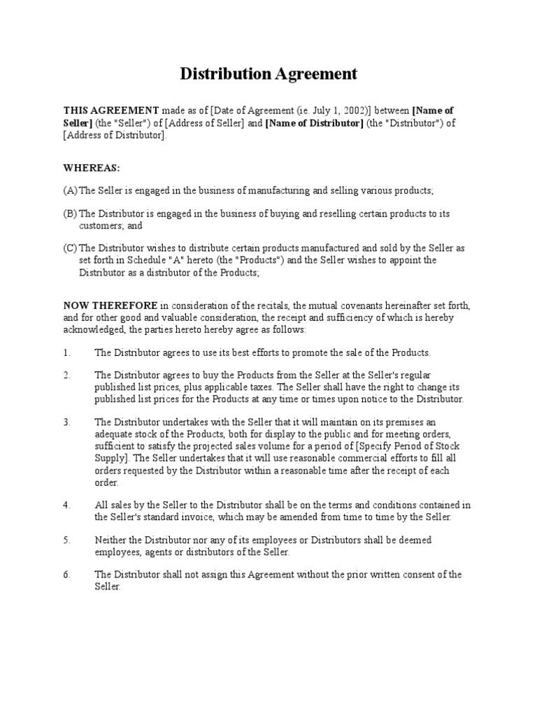 Distribution Agreement Short Form
