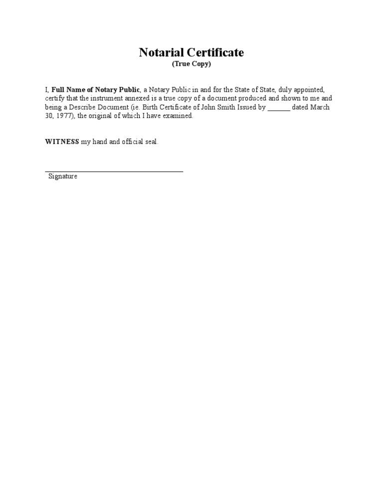 Notarial Certificate True Copy