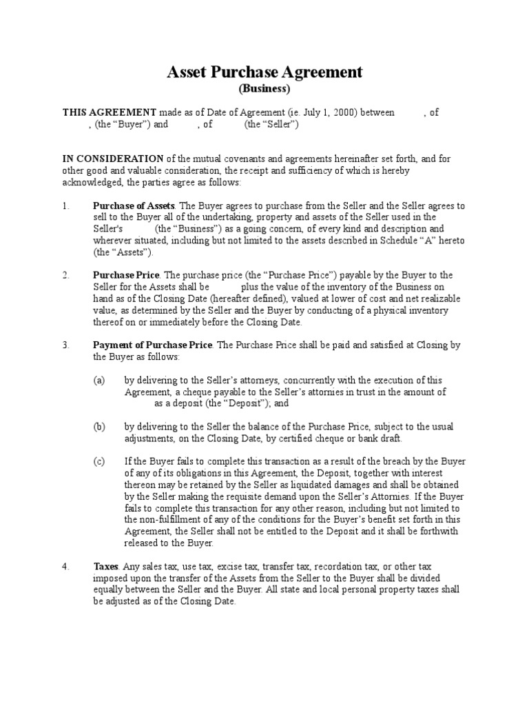 Asset Purchase Agreement Business Long Form Taxes Sales