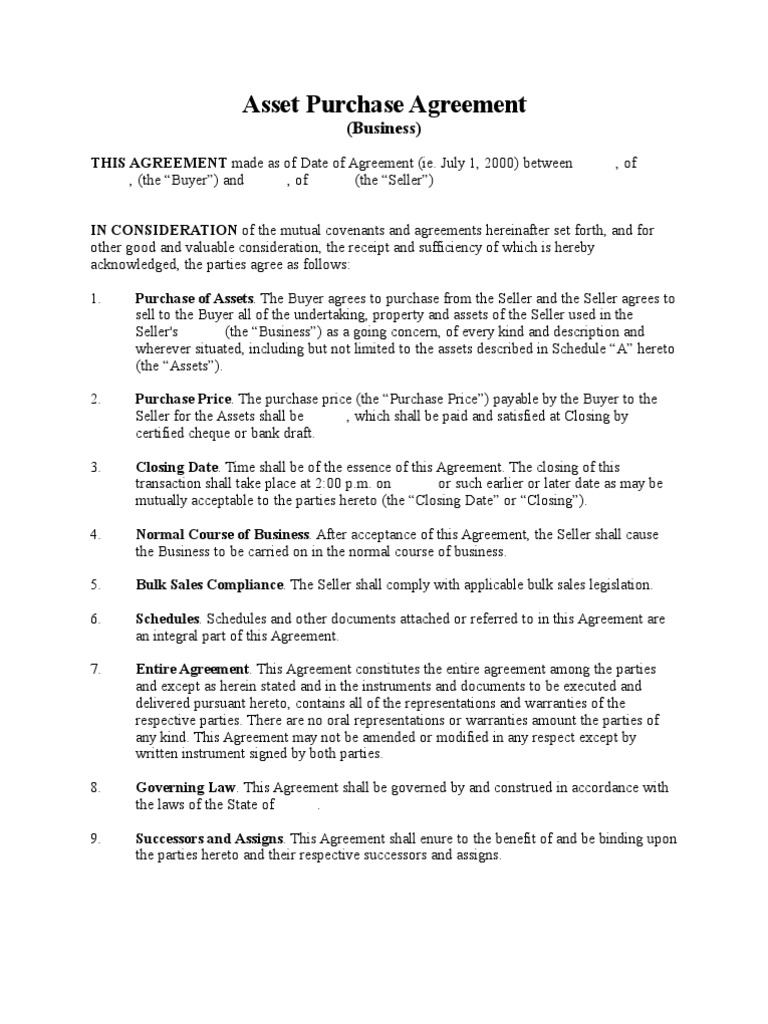Asset Purchase Agreement Business Short Form – Asset Purchase Agreements