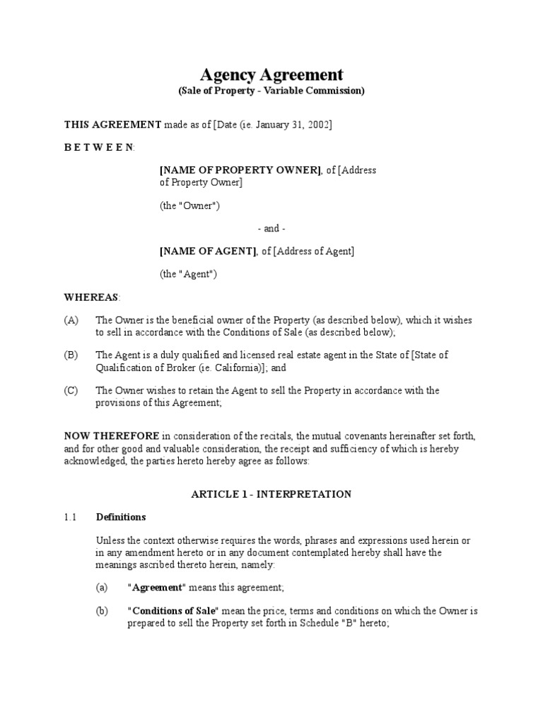 Agency Agreement Sale Of Property Variable Commission Law Of