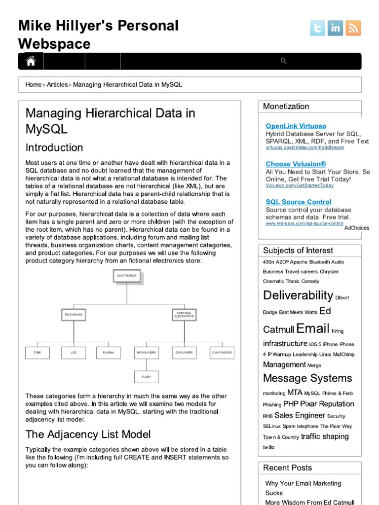 Mike Hillyer's Personal Webspace - Managing Hierarchical
