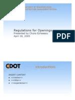 Regulations Openings