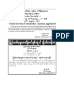 2012 Aug 27 Union Election Commission Member Appointed