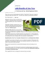 The Many Health Benefits of Aloe Vera