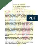 Festival Salesiano de Teatro - Palabras de Lanzamiento 2012