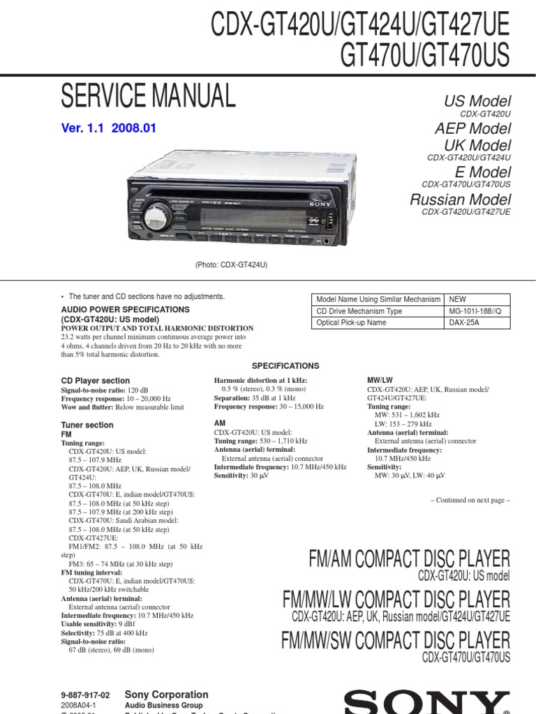 Sony Cdx Gt420u Wiring Diagram Electrical Diagrams Fm Am Compact Disc Player Gt420ugt424ugt427uegt470ugt470us Hertz Xplod Car Stereo