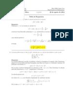 Corrección Examen de Mesa, Cálculo III, 28 de agosto de 2012