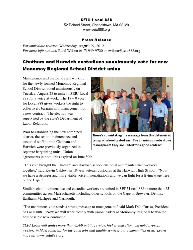 Chatham And Harwich Custodians Unanimously Vote For New Monomoy