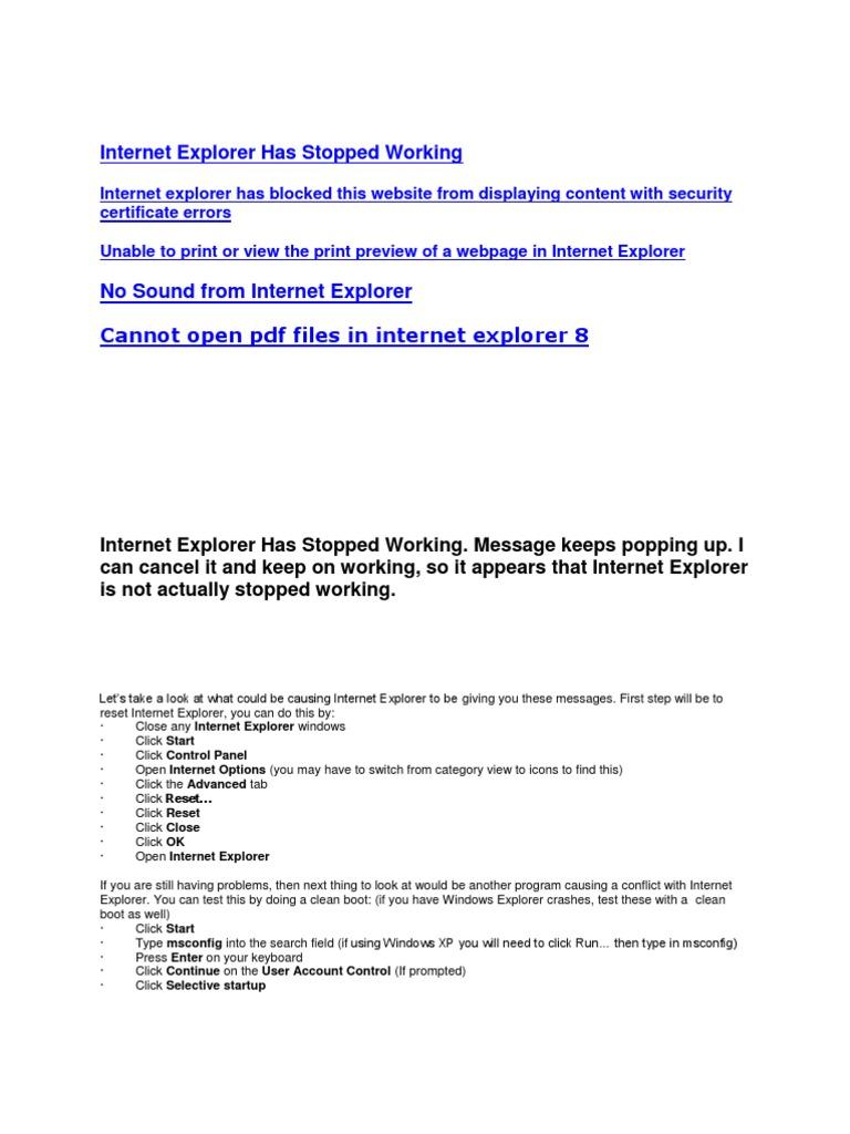 Pdf File Not Ing Internet Explorer