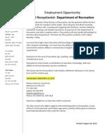 Employment Oppurtunity Recreation Receptionist Casual English