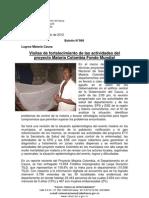 Boletín 069_ Visitas de fortalecimiento de las actividades del proyecto Malaria Colombia Fondo Mundial