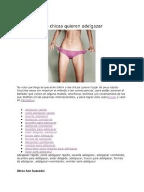 trucos para adelgazar rapido anorexia symptoms