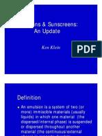 Emulsions & Sunscreens