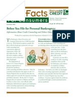 FTC Facts for Consumers (Before You File for Bankruptcy - Information About Debtor Counseling and Education)