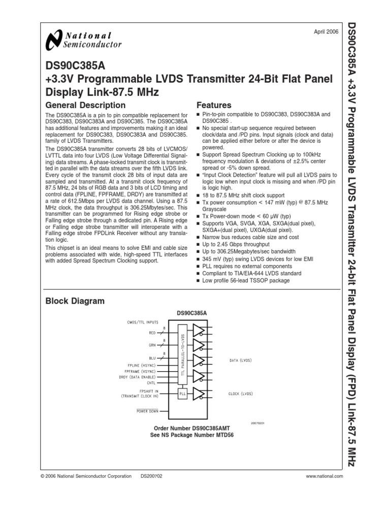 Ds90C385A +3.3V Programmable Lvds Transmitter 24-Bit Flat