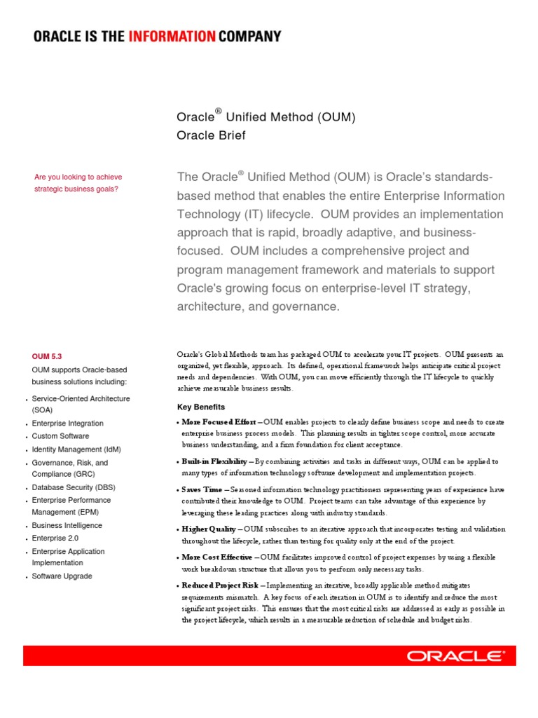 Oracle Unified Methodoum Business Process Information