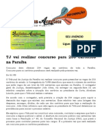 TJ vai realizar concurso para 253 cartórios na Paraíba