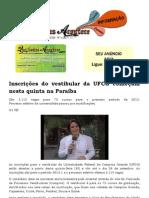Inscrições do vestibular da UFCG começam nesta quinta na Paraíba
