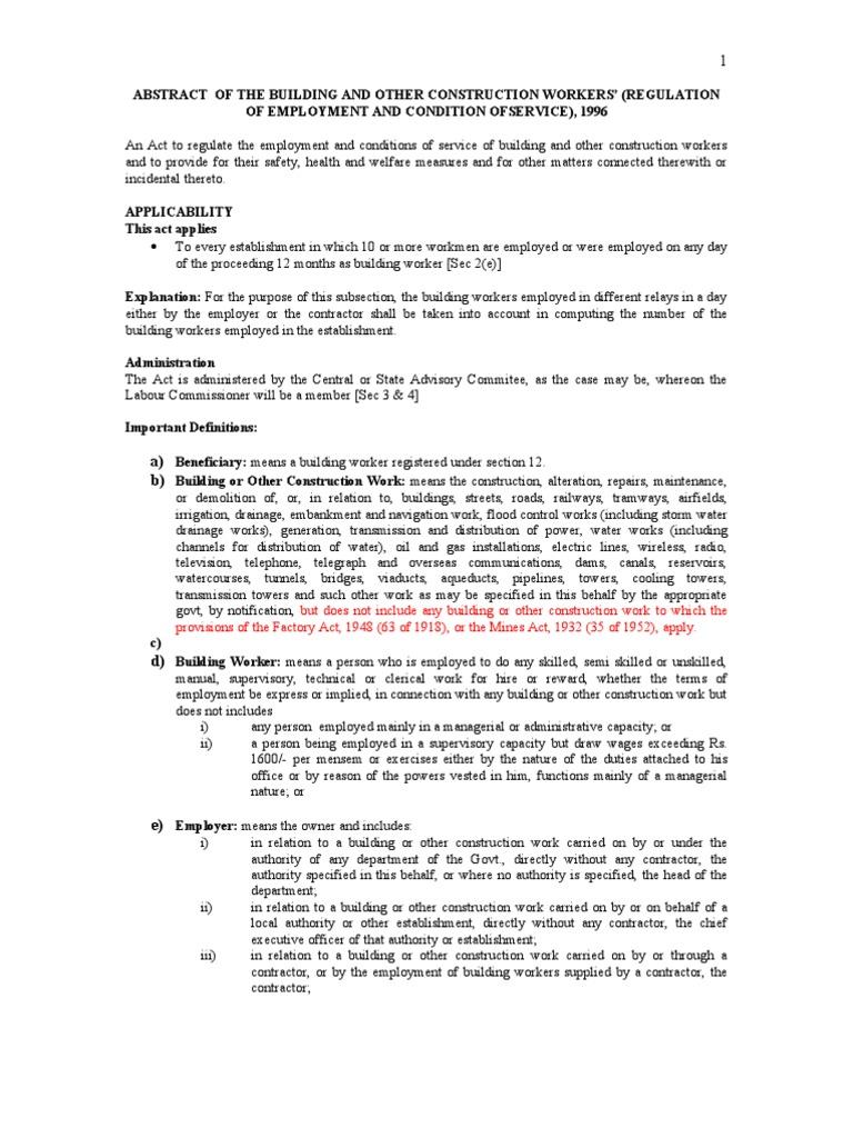 Bocw Act 1996 Pdf