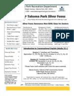 Silver Foxes Newsletter - September 2012 from the Takoma Park Recreation Department
