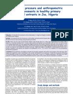 Blood Pressure and Anthropometrics Measurements in Healthy Primary School Entrants in JosNigeria