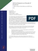 Development Sustainable Development as a Principle of International Law
