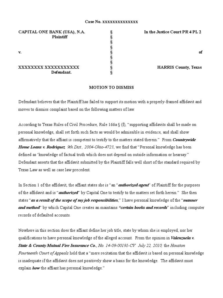 Motion to Dismiss - Capital One Redacted   Affidavit   Complaint
