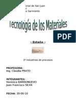 Tecnología de los Materiales - Estaño