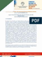 CONGRESO NACIONAL DE INVESTIGACIÓN EN TRABAJO SOCIAL