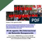 Noticias Uruguayas Viernes 31 de Agosto Del 2012