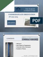 Peabody Undergraduate Orientation 2012