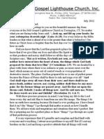 Full Gospel Lighthouse Church July 2012 Newsletter