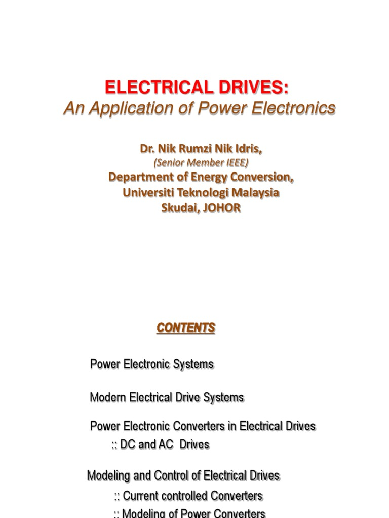 Electrical Drives Ppt | Power Electronics | Electric Motor