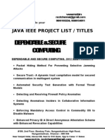 Java - Dependable and Secure Computing Project Titles - List = 2012-13, 2011, 2010, 2009, 2008