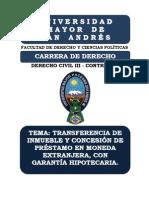 TRANSFERENCIA DE INMUEBLE Y CONCESIÓN DE PRÉSTAMO EN MONEDA EXTRANJERA, CON GARANTÍA HIPOTECARIA