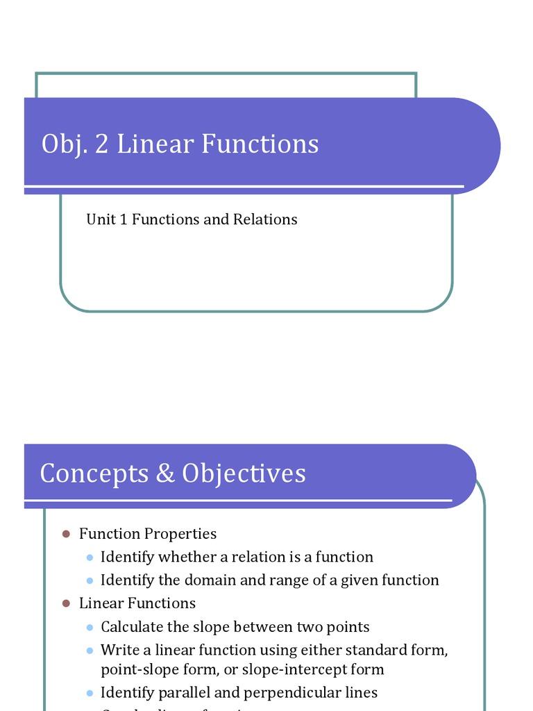Obj 2 linear functions presentation function mathematics obj 2 linear functions presentation function mathematics mathematical logic falaconquin