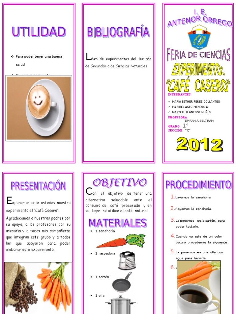 Triptico experimento de cafe for Proyecto de cafeteria escolar